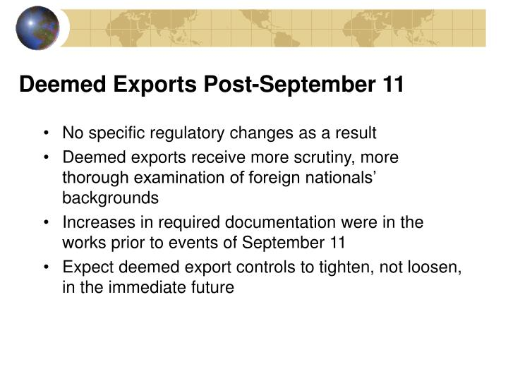 Deemed Exports Post-September 11