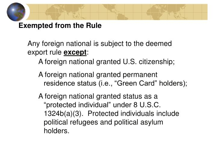 Exempted from the Rule