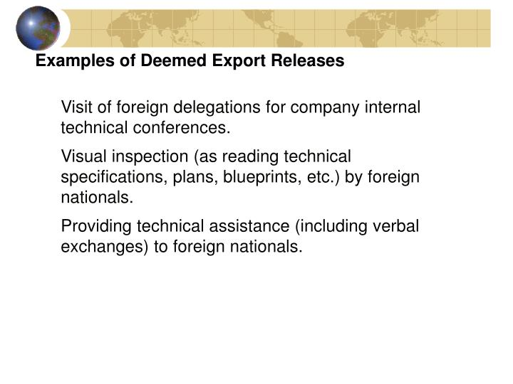 Examples of Deemed Export Releases