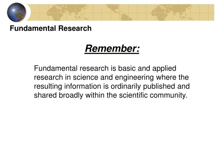 Fundamental Research