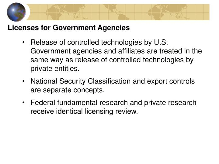 Licenses for Government Agencies