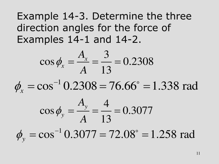 Example 14-3. Determine the three direction angles for the force of Examples 14-1 and 14-2.