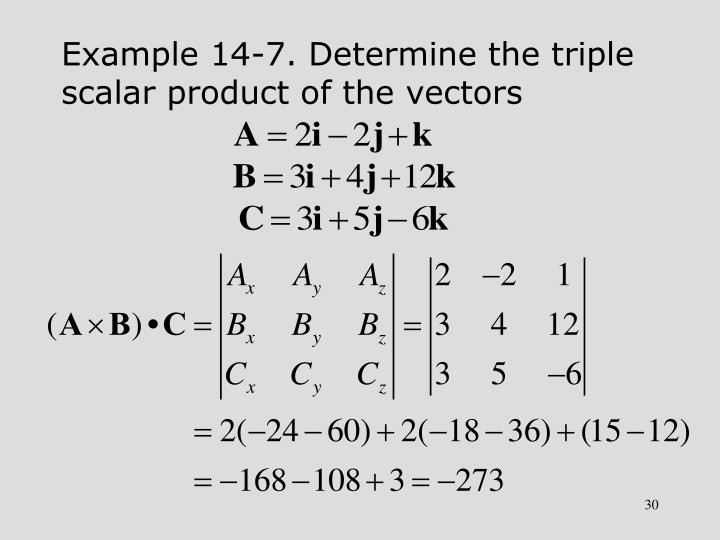 Example 14-7. Determine the triple scalar product of the vectors