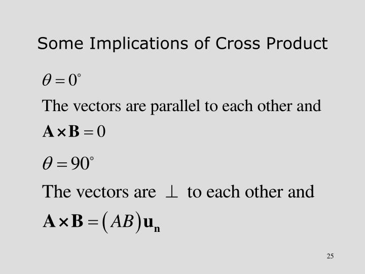 Some Implications of Cross Product