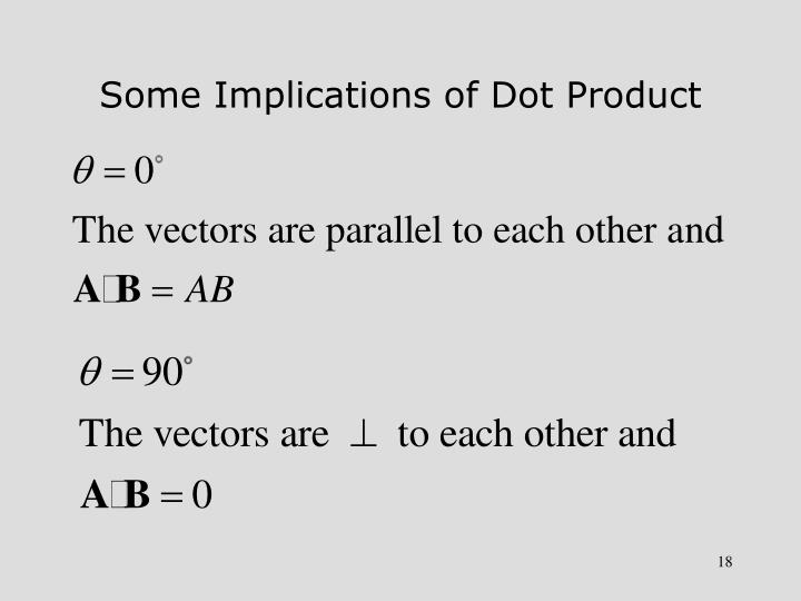 Some Implications of Dot Product