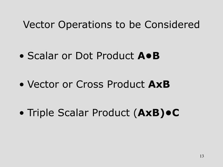 Vector Operations to be Considered