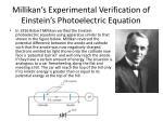 millikan s experimental verification of einstein s photoelectric equation