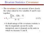 bivariate statistics covariance