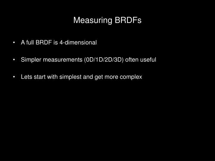 Measuring BRDFs