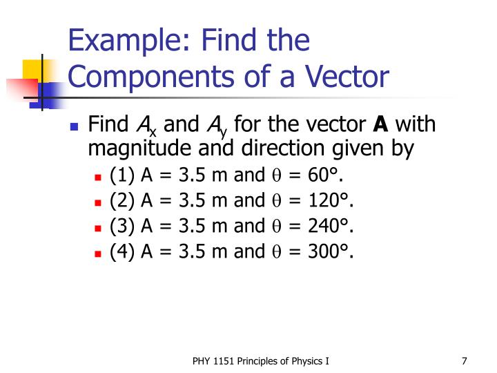 Example: Find the Components of a Vector
