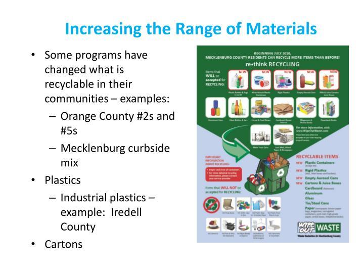 Increasing the Range of Materials
