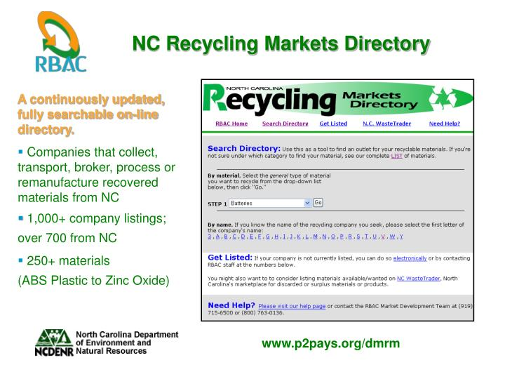 NC Recycling Markets Directory