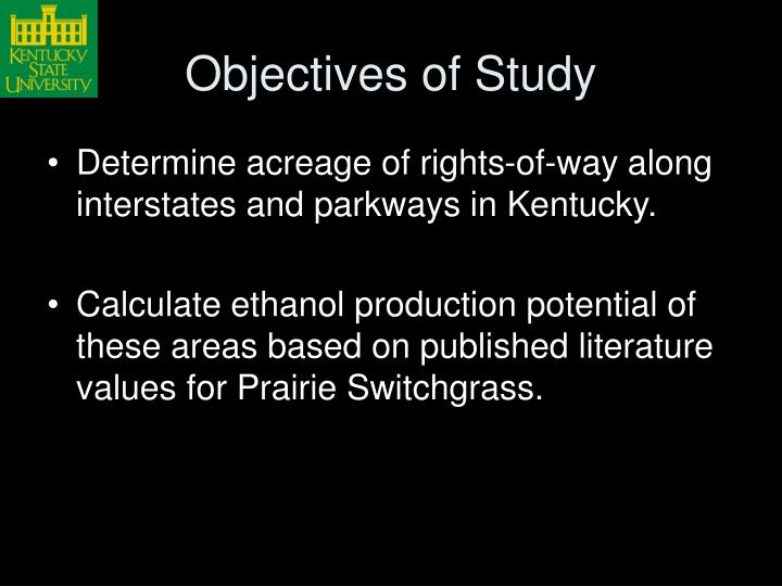 Objectives of Study