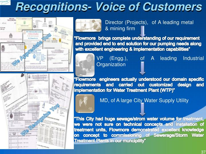 Recognitions- Voice of Customers