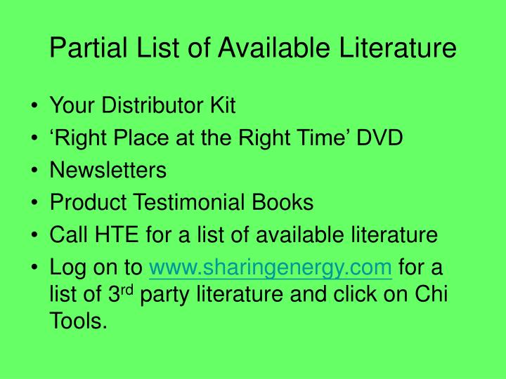 Partial List of Available Literature