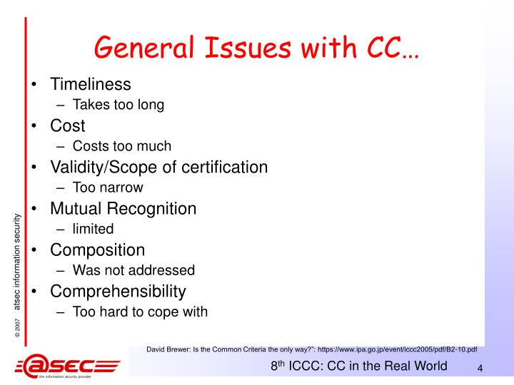 General Issues with CC…
