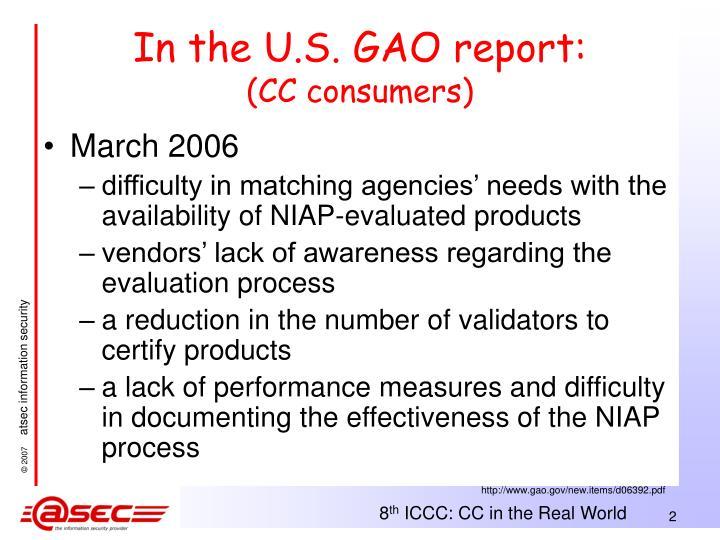 In the U.S. GAO report:
