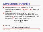 computation of p o