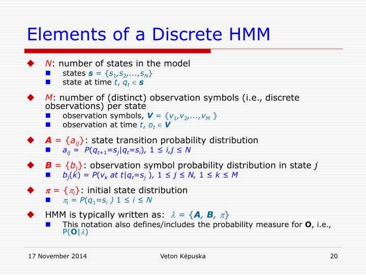 Elements of a Discrete HMM