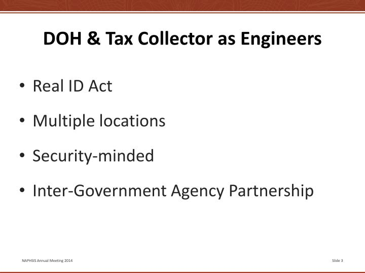 Doh tax collector as engineers