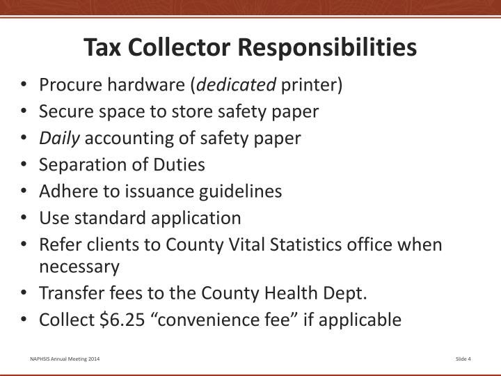 Tax Collector Responsibilities