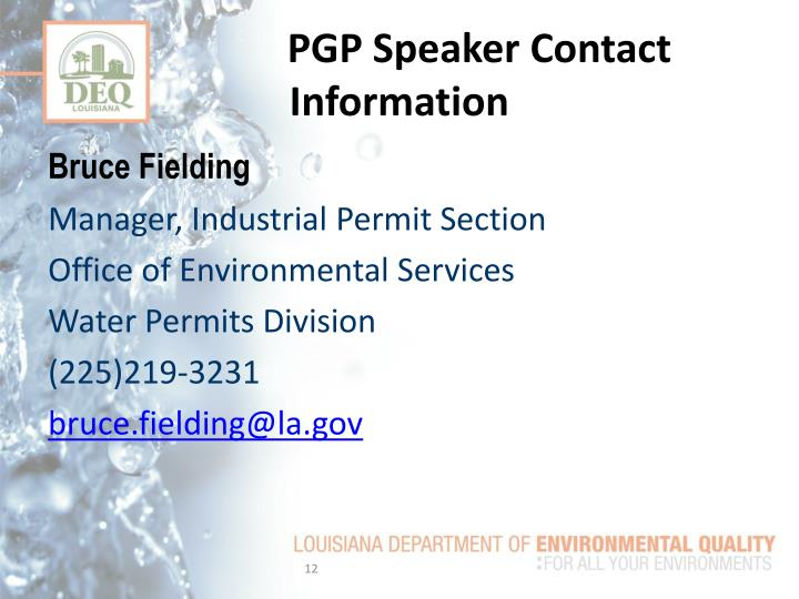 PGP Speaker Contact Information