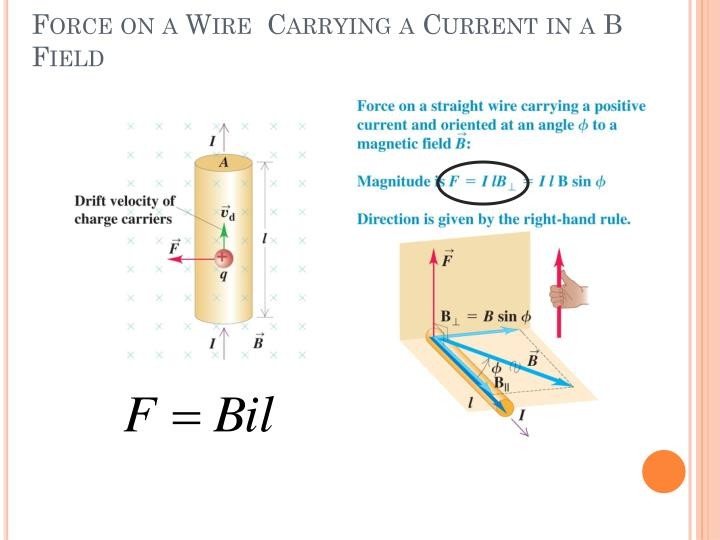 Force on a Wire  Carrying a Current in a B Field
