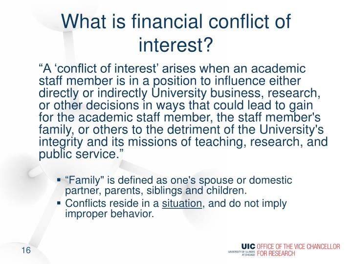 What is financial conflict of interest?