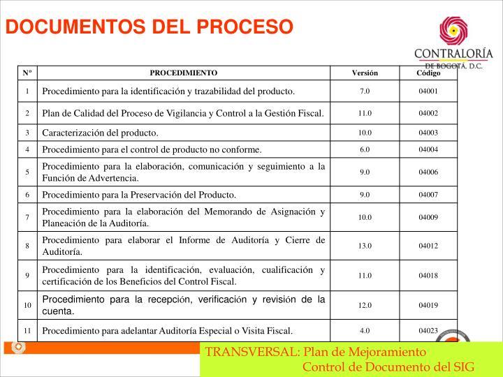 DOCUMENTOS DEL PROCESO