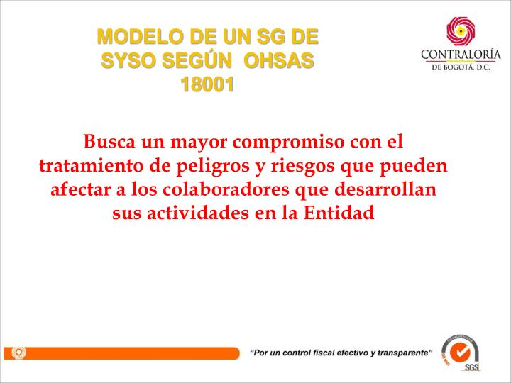 MODELO DE UN SG DE SYSO SEGÚN  OHSAS 18001