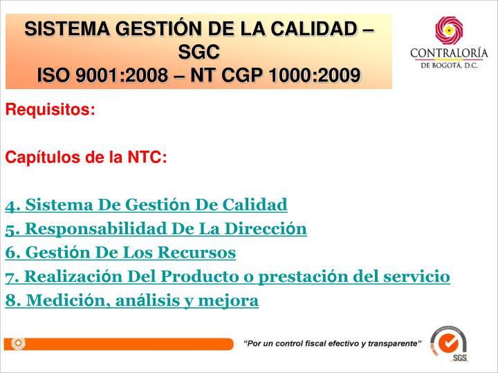 SISTEMA GESTIÓN DE LA CALIDAD – SGC