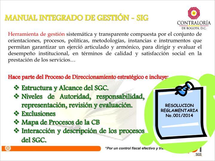 RESOLUCION REGLAMENTARIA No.001/2014
