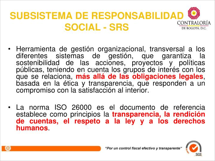 SUBSISTEMA DE RESPONSABILIDAD SOCIAL - SRS