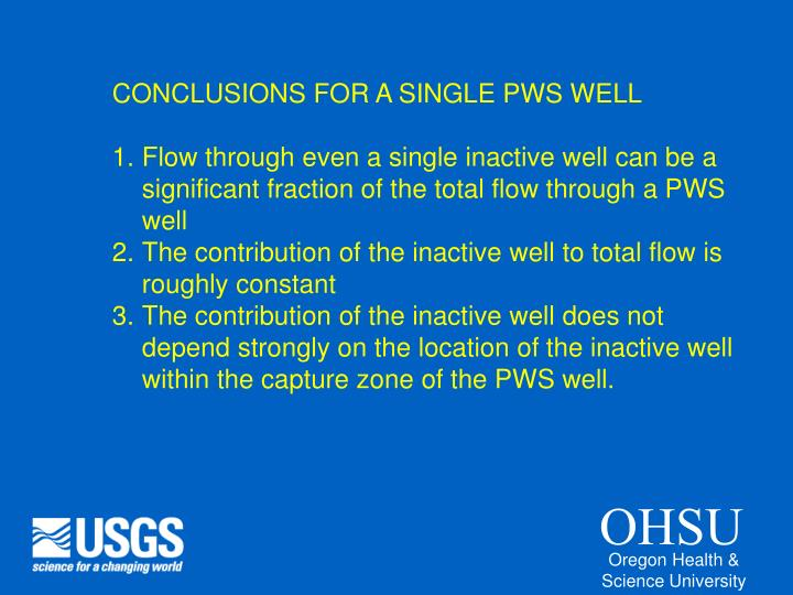 CONCLUSIONS FOR A SINGLE PWS WELL