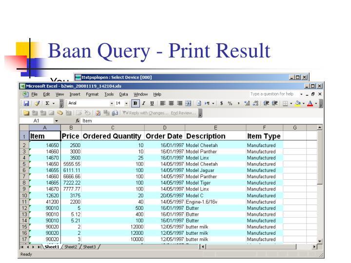 Baan Query - Print Result