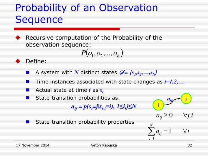 Probability of an Observation Sequence