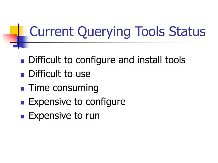 Current querying tools status