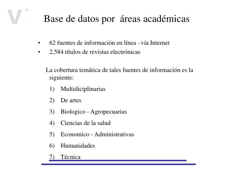 Base de datos por  áreas académicas