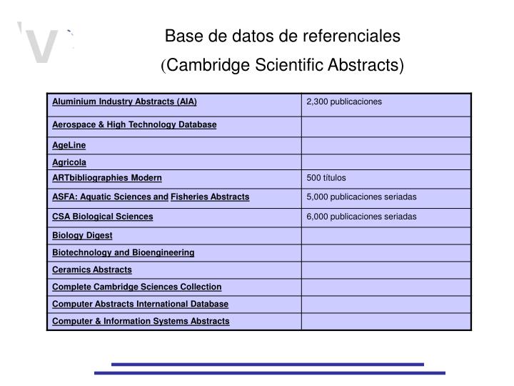 Base de datos de referenciales