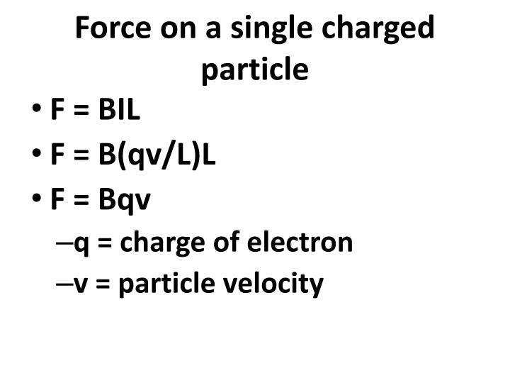 Force on a single charged particle