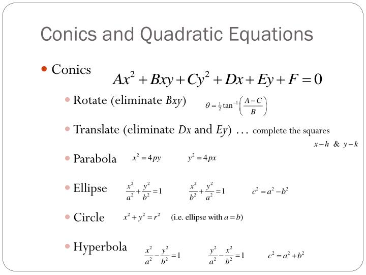 Conics and quadratic equations1