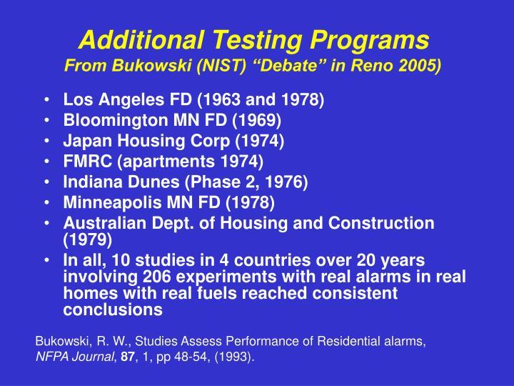 Additional Testing Programs