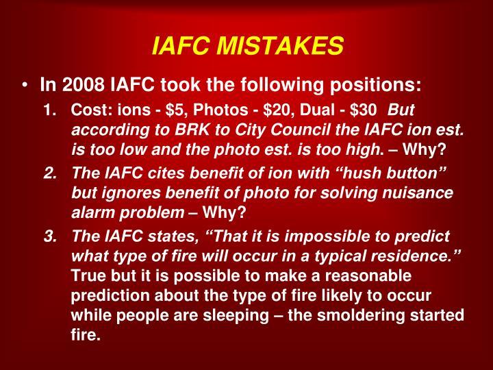 IAFC MISTAKES