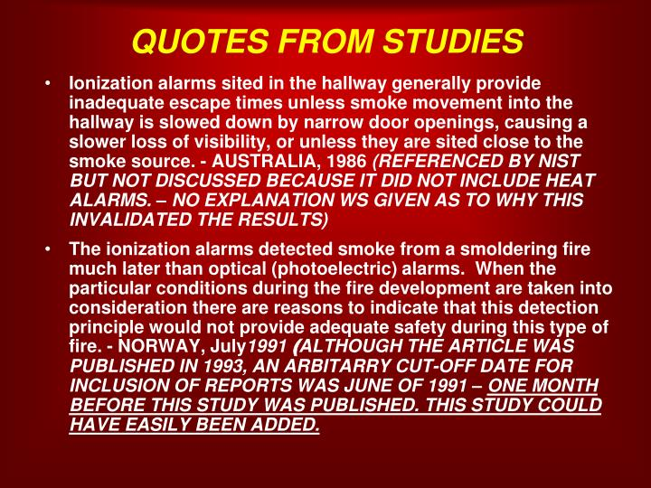 QUOTES FROM STUDIES