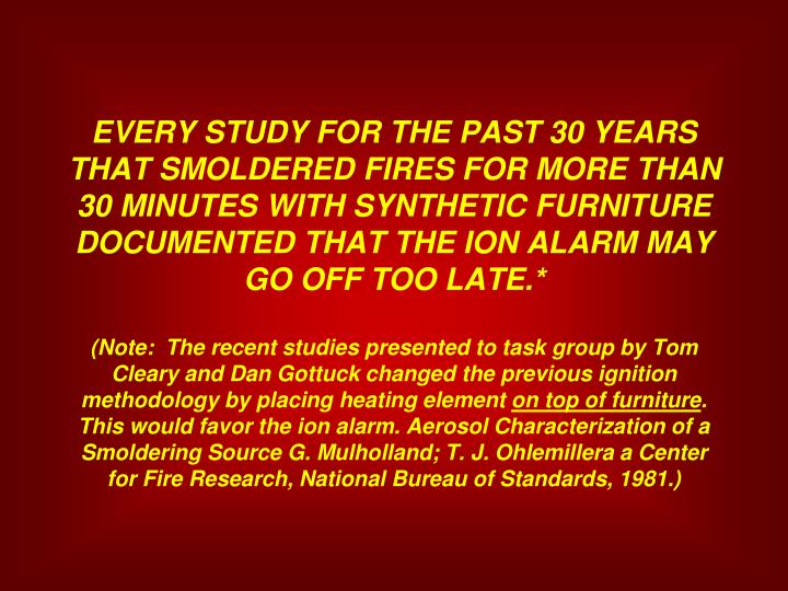 EVERY STUDY FOR THE PAST 30 YEARS THAT SMOLDERED FIRES FOR MORE THAN 30 MINUTES WITH SYNTHETIC FURNITURE DOCUMENTED THAT THE ION ALARM MAY GO OFF TOO LATE.*