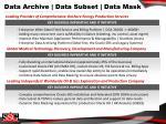 data archive data subset data mask