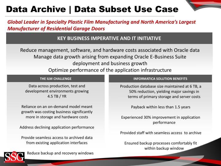 Data Archive | Data Subset Use Case