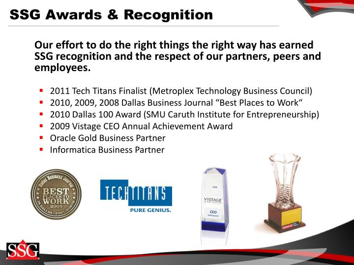 SSG Awards & Recognition
