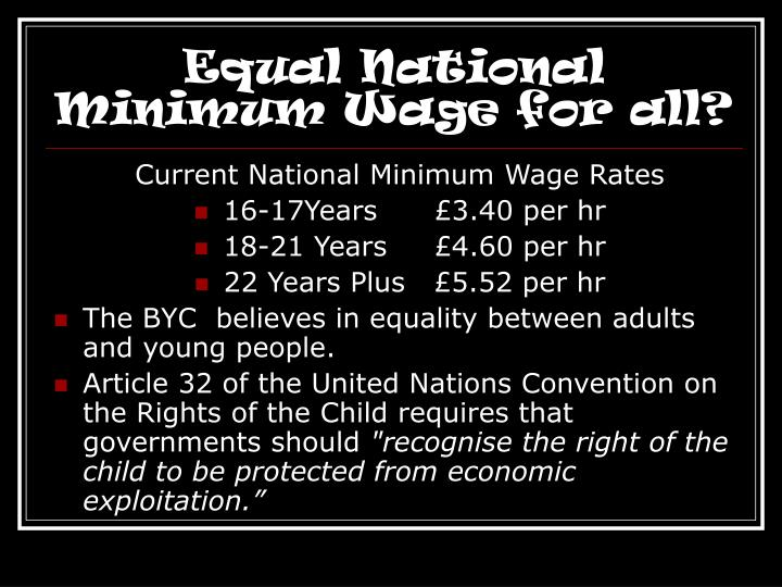 Equal National Minimum Wage for all?