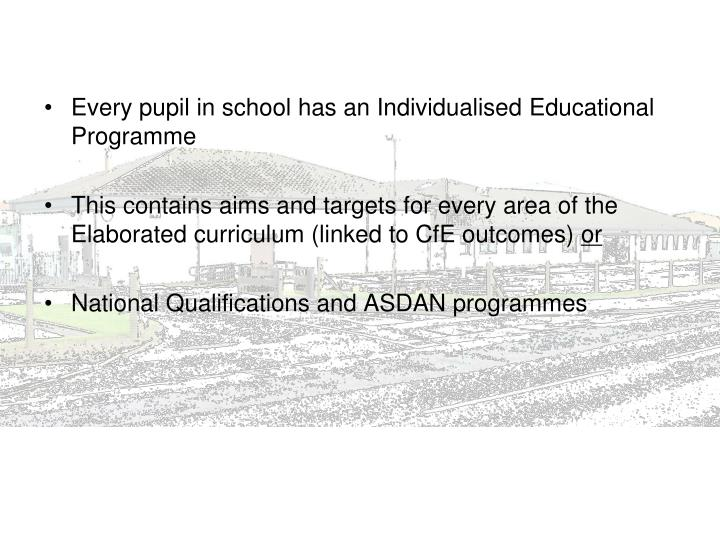 Every pupil in school has an Individualised Educational Programme